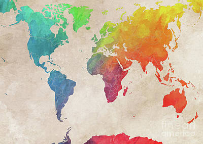 World Map Art Art Print