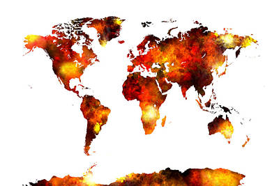 Colourfull Digital Art - World Map Watercolor by Michael Tompsett