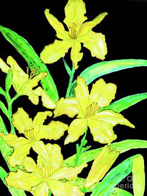 Painting - Yellow Daily Lilies by Irina Afonskaya