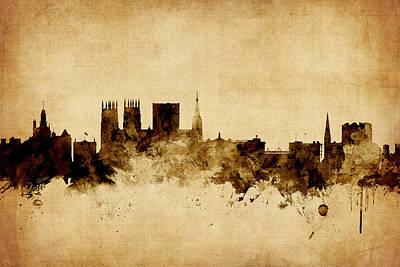 Great Britain Digital Art - York England Skyline by Michael Tompsett