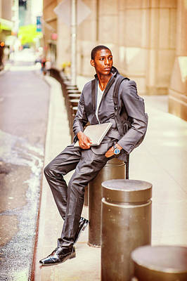 Photograph - Young African American Man Traveling, Studying In New York by Alexander Image