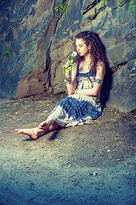 Photograph - Young American Woman Missing You With White Rose In New York by Alexander Image