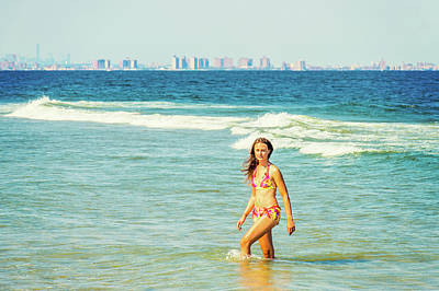 Photograph - Young American Woman Traveling, Relaxing On The Beach In New Jer by Alexander Image