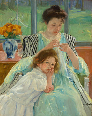 Mary Cassatt Painting - Young Mother Sewing by Mary Cassatt