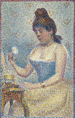 Georges Seurat Painting - Young Woman Powdering Herself by Georges Seurat