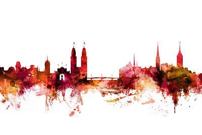 Zurich Digital Art - Zurich Switzerland Skyline by Michael Tompsett