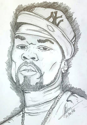 Hop Drawing - 50 Cent by Collin A Clarke