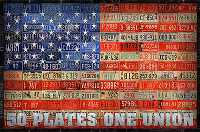Usa Mixed Media - 50 Plates One Union Recycled License Plate American Flag by Design Turnpike