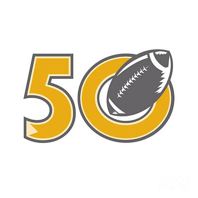 Bay Area Digital Art - 50 Pro Football Championship Ball by Aloysius Patrimonio