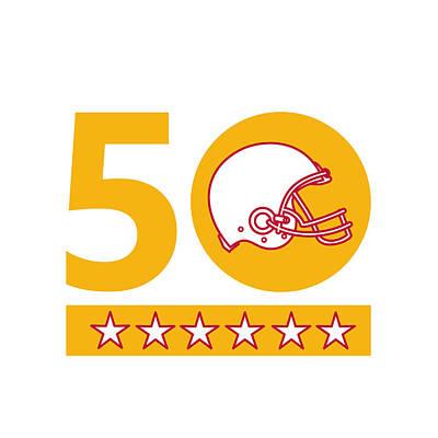 Bay Area Digital Art - 50 Pro Football Championship Sunday Helmet by Aloysius Patrimonio