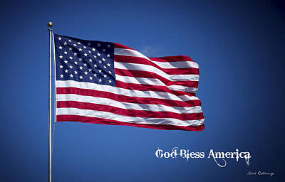50 Stars Thirteen Stripes American Flag  God Bless America Print by Reid Callaway
