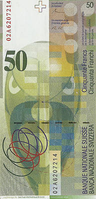 50 Swiss Franc Bill Original
