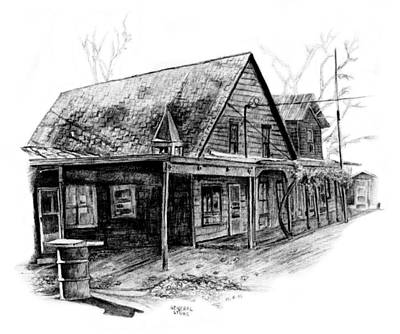 Country Store Drawing - Mansfield General Store by David M Pigg