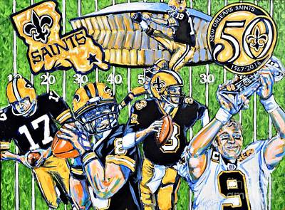 Drew Brees Painting - 50 Years Of Saints by Tami Curtis