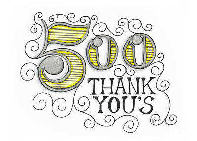 Drawing - 500 Thank Yous by Cindy Garber Iverson