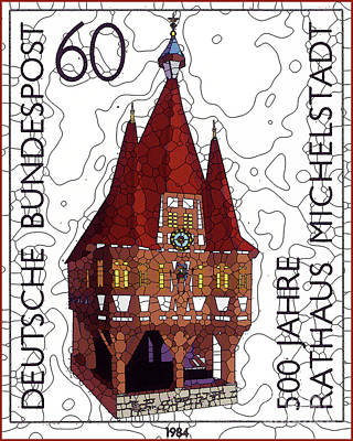 Painting - 500 Years Of The Town Hall Michelstadt by Lanjee Chee