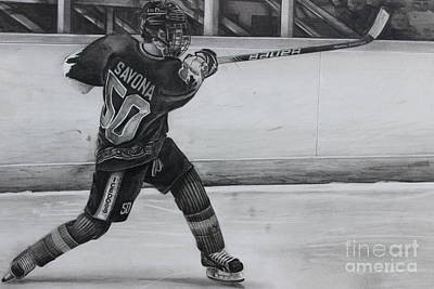 Nhl Ice Hockey Drawing - #50bsavona by Gary Reising