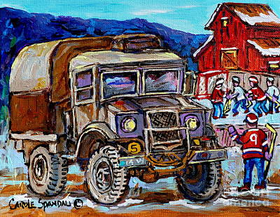 Red Barn In Winter Painting - 50's Dodge Truck Red Wood Barn Outdoor Hockey Rink  Art Canadian Winter Landscape Painting C Spandau by Carole Spandau