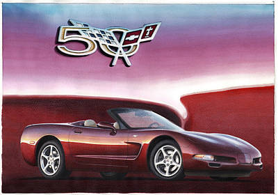 Convertible Painting - 50th Anniversary Corvette by Rod Seel