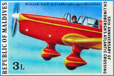 Famous Aviators Painting - 50th Anniversary Of Ch.lindbergh's Atlantic Crossing by Lanjee Chee
