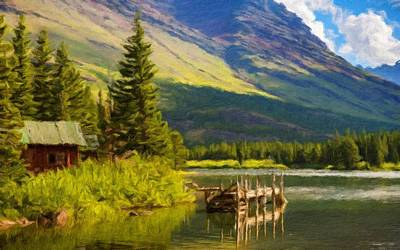 Bob Ross Digital Art - Landscape Painting Acrylic by Victoria Landscapes