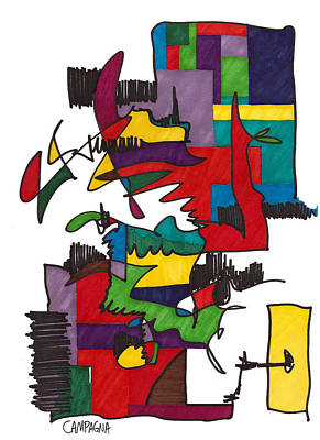 Color Block Drawing - Untitled by Teddy Campagna