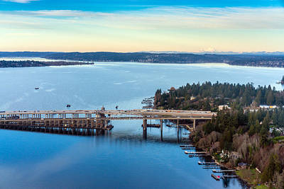 Skylines Royalty-Free and Rights-Managed Images - 520 Bridge and Mount Baker by Mike Reid
