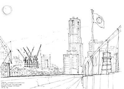 Drawing - 5.2.japan-1-tokyo-skyline by Charlie Szoradi
