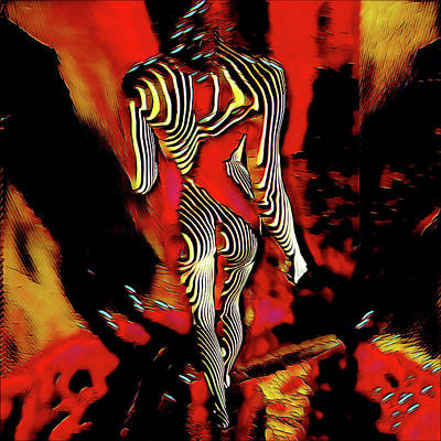 Digital Art - 5335s-mak Figure Art Rendered In Hot Red Palette Knife Style by Chris Maher