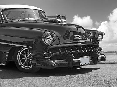 Classic Hot Rod Photograph - '54 Chevy In Black And White by Gill Billington