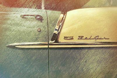 55 Bel Air Door Emblem Art Print by Mike Burgquist