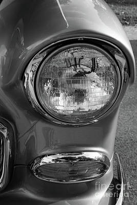 Photograph - 55 Chevy Headlight Grayscale by Jennifer White