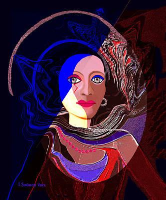 Digital Art - 551   Flashy Lady Greeneyed  V by Irmgard Schoendorf Welch