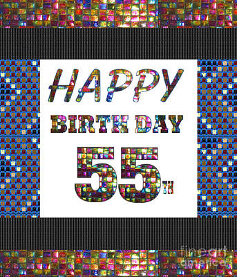 Painting - 55th Happy Birthday Greeting Cards Pillows Curtains Phone Cases Tote By Navinjoshi Fineartamerica by Navin Joshi