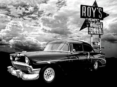 Holiday Mugs 2019 - 56 Chevy Belair in Black and White by Chas Sinklier