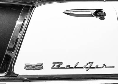 Photograph - 56' Chevy Door Bw by Rospotte Photography