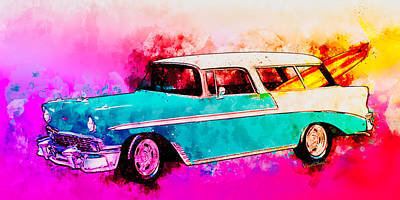 Digital Art - 56 Chevy Nomad By The Sea In The Morning With Vivachas by Chas Sinklier