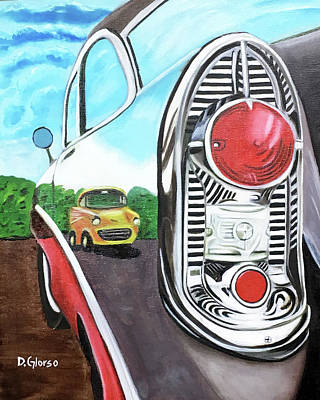 Painting - 56 Chevy Reflections by Dean Glorso