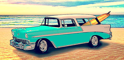 Street Rod Mixed Media - 56 Nomad By The Sea In The Morning With Vivachas by Chas Sinklier