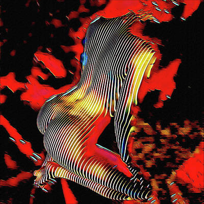 Digital Art - 5600s-mak Nude On Her Haunches Curves Stripes Art Rendered In Red Palette Knife Style by Chris Maher
