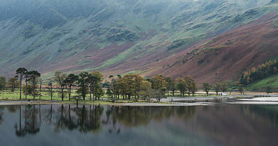 School Tote Bags - Beautiful Autumn Fall landscape image of Lake Buttermere in Lake by Matthew Gibson