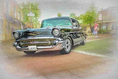 Photograph - 57 Black Chevy by Bill Posner