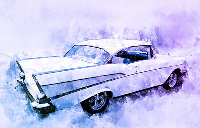 Digital Art - 57 Chevy Belair Hardtop Watercolour Illustration by Chas Sinklier