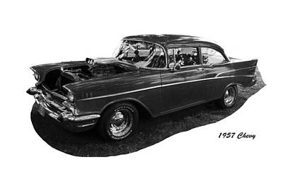 Photograph - 57 Chevy Bw by C H Apperson
