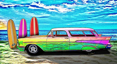 57 Chevy Nomad Wagon Best Part Of Waking Up Art Print