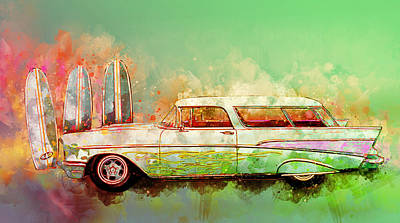Digital Art - 57 Chevy Nomad Wagon Blowing Beach Sand by Chas Sinklier