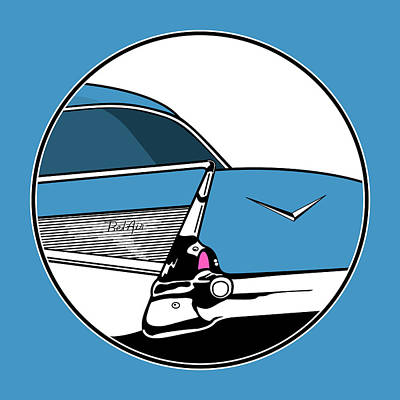 Digital Art - 57 Chevy Tailfin by Linda Carruth