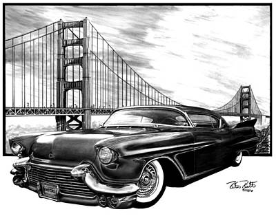 Roadster Drawing - 57 Fat Cad by Peter Piatt