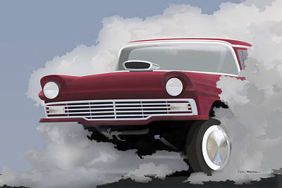 Painting - 57 Ford Gasser by MOTORVATE STUDIO Colin Tresadern