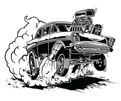 Fink Wall Art - Digital Art - '57 Gasser Cartoon by Matt Dyck